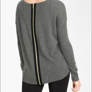 Only Mine Zip Back Hi-Lo Cashmere/wool Sweater